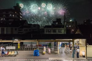 Fireworks from the local station