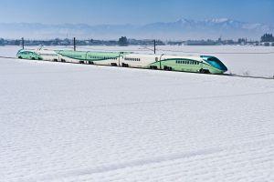 雪原を行く、新幹線・とれいゆ つばさ