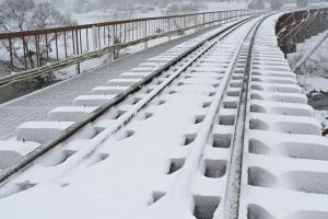 雪化粧された鉄路